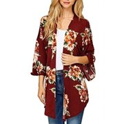 4234ee06085e Women's Vintage Floral Loose Blouse Boho Plus Size Coat Shawl Kimono Beach  Cardigan Tops