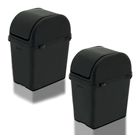 Zento Deals 2 Pieces of Environmental Friendly Portable Black Convenient Car, Office, and Home Trash Can