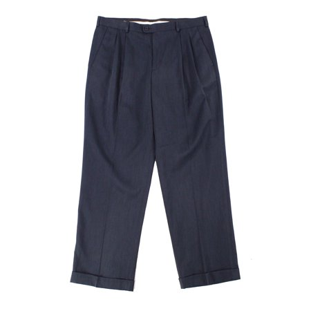 Navy Mens 42x30 Dress Double Pleat Pants 42 Twill Double Pleat Pants