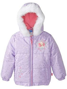 Disney Frozen Baby Toddler Girl Faux Fur Puffer Jacket