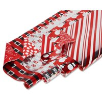 "American Greetings Christmas Foil Reversible Wrapping Paper, Red, Black, and Silver, Candy Cane Stripe, Snowmen, Ho-Ho-Ho, Santa Belt, 4-Roll, 30"", 80 Total Sq. Ft."