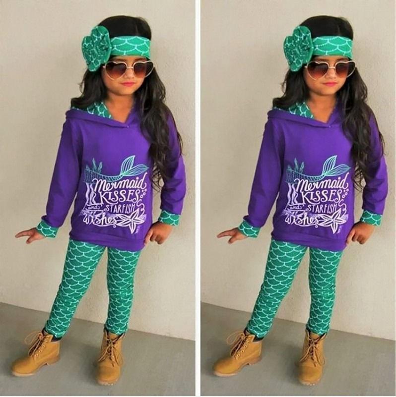 Fashion Toddler Kids Girls Mermaid Clothes Hoodie Tops Pants Legging 3Pcs Outfits Set 1-6T