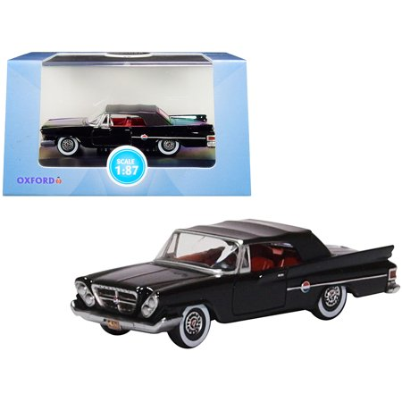 1961 Chrysler 300 Closed Convertible Black with Red Interior 1/87 (HO) Scale Diecast Model Car by Oxford Diecast Chrysler Diecast Model Car