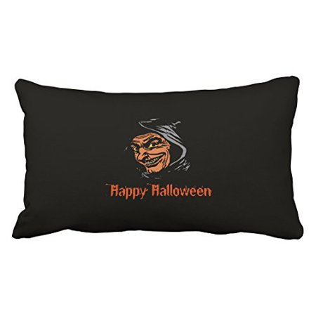 WinHome Vintage Fashion Happy Halloween Horror Goblin Portrait Polyester 20 x 30 Inch Rectangle Throw Pillow Covers With Hidden Zipper Home Sofa Cushion Decorative Pillowcases](Vintage Halloween Portraits)