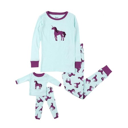Leveret Kids & Toddler Pajamas Matching Doll & Girls Pajamas 100% Cotton Christmas Pjs Set (Unicorn,Size 2 Toddler)