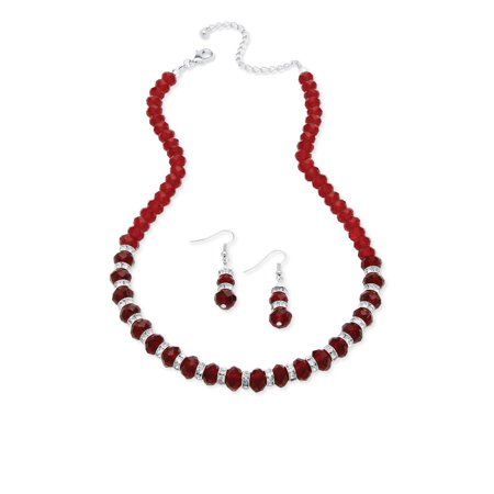 Beaded Birthstone Necklace and Earrings Set in Silvertone (Opal Necklace And Earring Set)