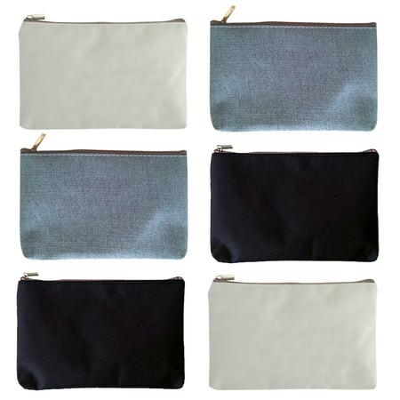 Aspire 12 Pack Canvas Zipper Bags 4 White Black Grey 6 3 X