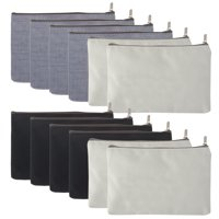 "Aspire 12-Pack Canvas Zipper Bags (4 White + 4 Black + 4 Grey) 6 3/4"" x 4 3/4"""
