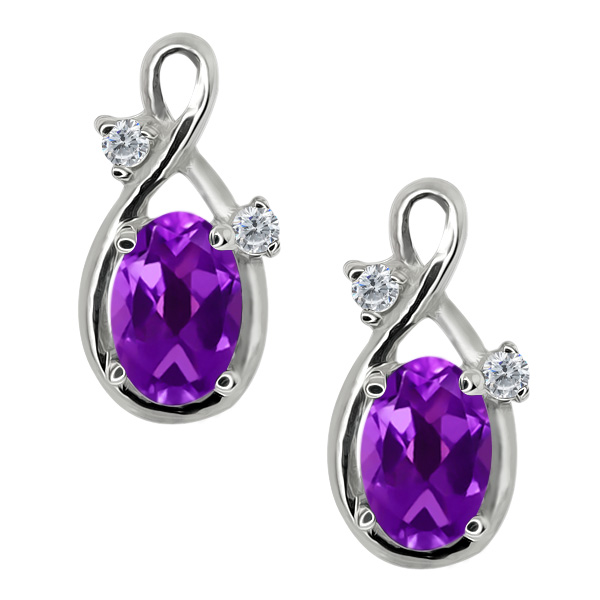 0.98 Ct Oval Purple Amethyst and White Diamond 14k White Gold Earrings