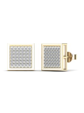 aaXia Mens 10K Yellow Gold 1/5ct TDW Diamond Square Stud Earrings