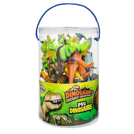 "Halloween Promotional Giveaways (Kicko 6"" Bulk Dinosaur Figures- 12 Pieces of Realistic Dino Assortment in a PVC Tub- Plastic Miniature Dinosaurs- Halloween Toys, Cake Toppers, Birthday Present, and Party)"