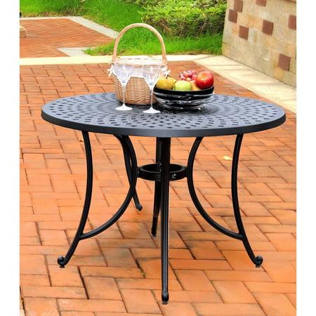"Crosley Furniture Sedona 42"" Cast Aluminum Dining Table in Charcoal Black Finish"