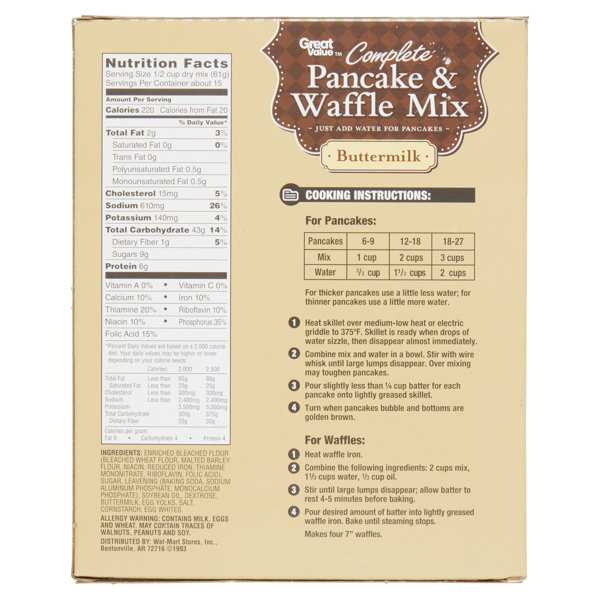 Great Value Pancake  Waffle Mix Buttermilk  Oz Walmartcom - Vinyl cup care instructions