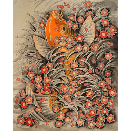(Sakura Koi by Clark North Asian Fish Cherry Blossom Flowers Tattoo Art Print)