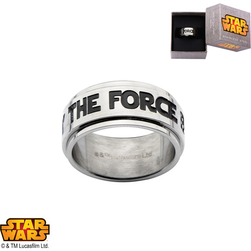"Disney Stainless Steel Star Wars ""MAY THE FORCE BE WITH YOU"" Spinner Ring"