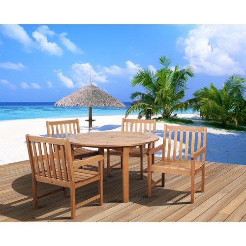 Milano FSC Eucalyptus Wood 5-Piece Round Patio Dining Set with Armchairs, Seats 4