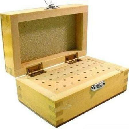 Wood Box Bur Drill Rotary Tool Holder Organizer 36 Hole