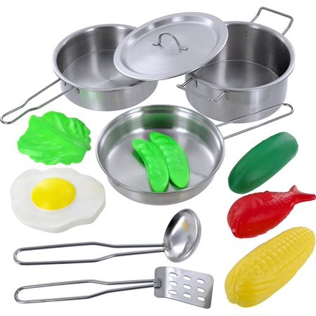 Stainless 5 Piece Setting - Click N' Play 12 Piece Mini Stainless Steel Pots and Pans Cookware Pretend Playset With Play Food