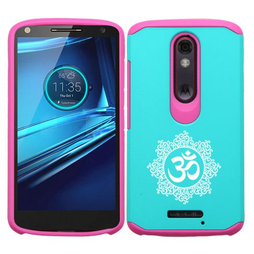 Motorola Droid Turbo 2 Shockproof Impact Hard Soft Case Cover Yoga Floral Decorative (Light Blue-Hot Pink)