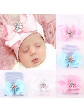 Newborn Infant Toddler Girl Baby Stripe Bowknot Beanie Hat Comfys Hospital Cap B