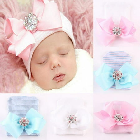Newborn Infant Toddler Girl Baby Stripe Bowknot Beanie Hat Comfys Hospital Cap B ()