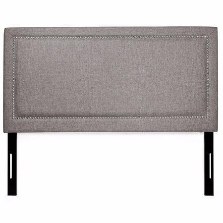 XtremepowerUS Barton Headboard Upholstered Fabric Nailhead Full/Queen Size, Gray