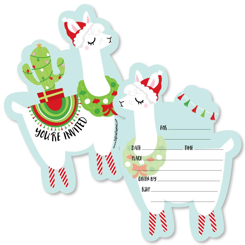 Fa La Llama - Shaped Fill-in Invitations - Christmas Holiday Party Invitation Cards Envelopes - Set of 12