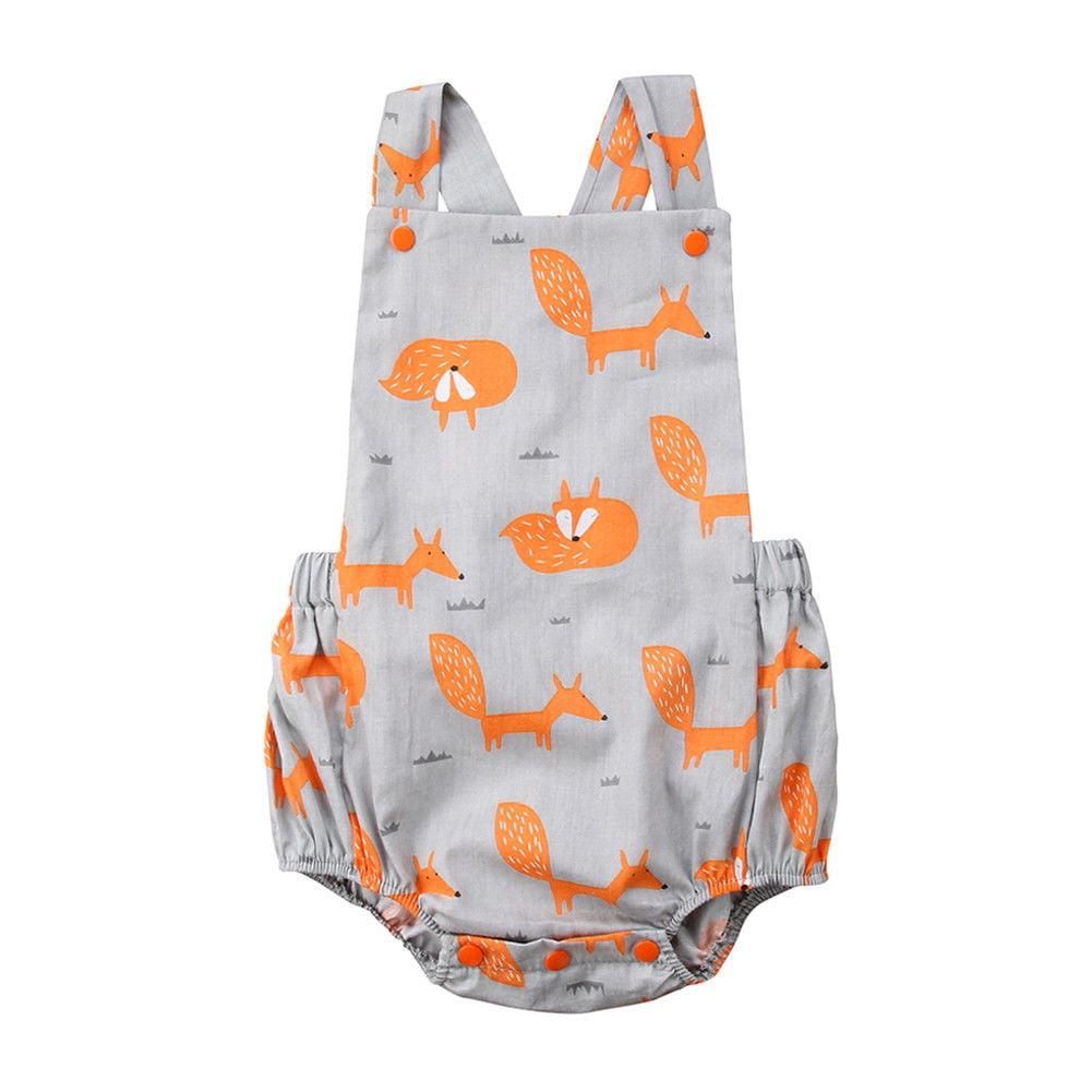 29813a466b70 Infant Newborn Baby Girls Boys Fox Print Strap Romper Jumpsuit ...
