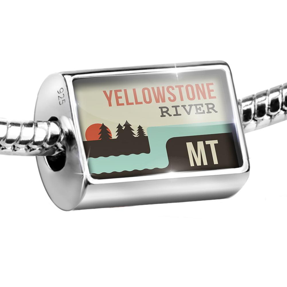 Sterling Silver Bead USA Rivers Yellowstone River - Montana Charm Fits All European Bracelets