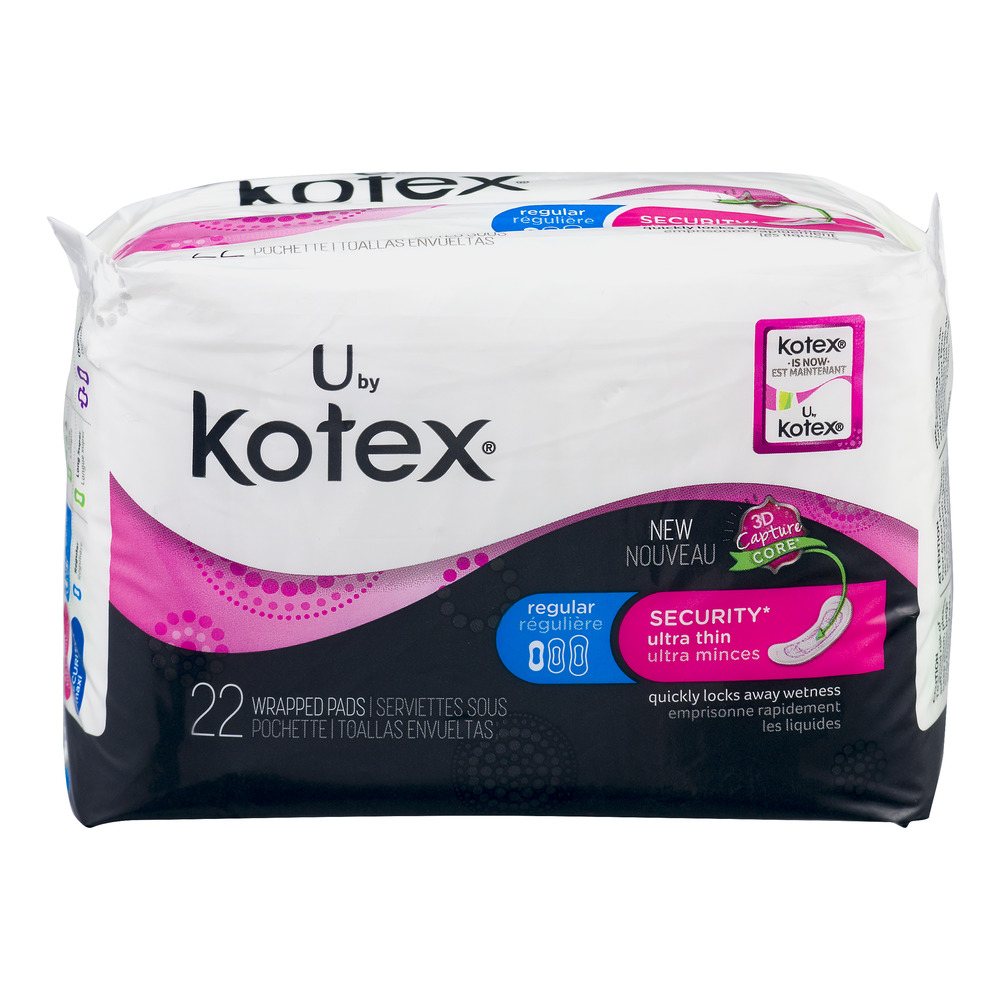 U by Kotex Security Ultra Thin Pads, Regular, Unscented