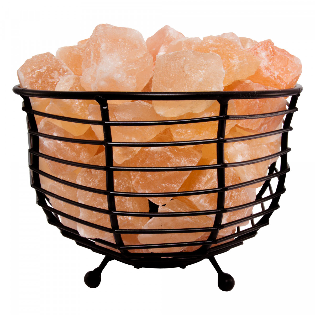 Natural Himalayan Salt Lamp Air Purifying Bowl Mesh Basket With Salt Chunks Bulb Amp Electric