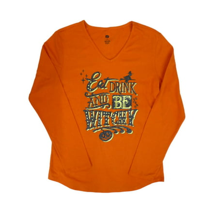 Happy Halloween Womens Orange Eat Drink Be Witchy! T-Shirt Glittery Tee (Ladies Halloween Shirts)