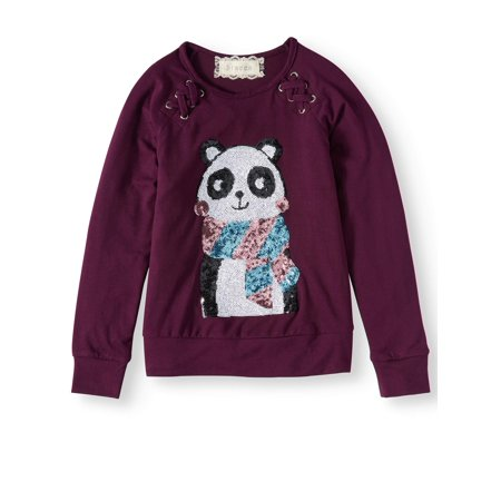 Girls' Sequin Panda Lace Up Top