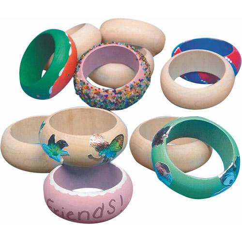 Large Wooden Bangle Bracelet, Pack of 12