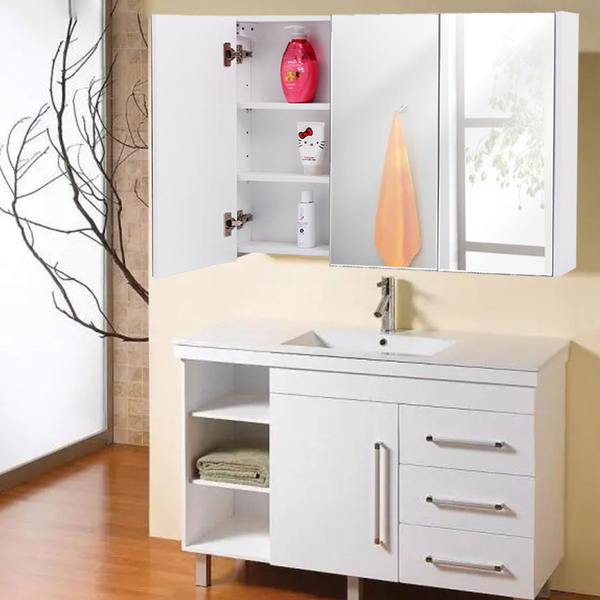 Costway 36 Wide Bathroom Mirrored Mount Wall Medicine