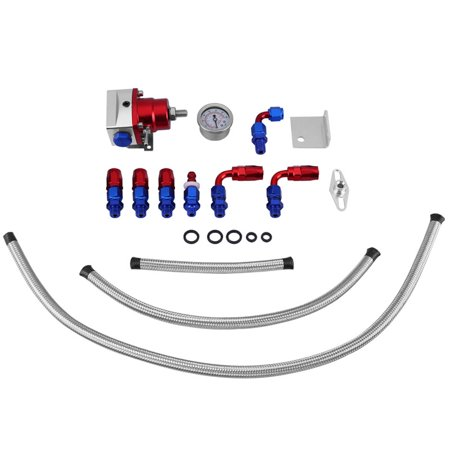 Universal Adjustable Fuel Pressure Regulator Kit Oil 160Psi Gauge An 6 Fitting End Metal