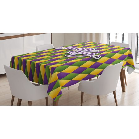 Mardi Gras Tablecloth, Hand Writing Calligraphy Design on Diamond Line Pattern Iconic Colors, Rectangular Table Cover for Dining Room Kitchen, 52 X 70 Inches, Purple Green Yellow, by Ambesonne - Mardi Gras Tablecloth