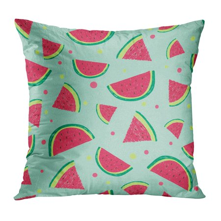 - ECCOT Blue Bright Watermelon Slices Colorful Color Food Fresh Fruit Healthy Pillowcase Pillow Cover Cushion Case 18x18 inch