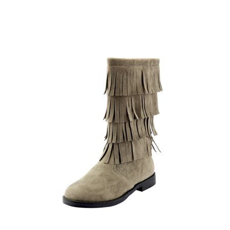 The Doll Maker Tall Fringe Flat Suede Boot-TD173025B-10