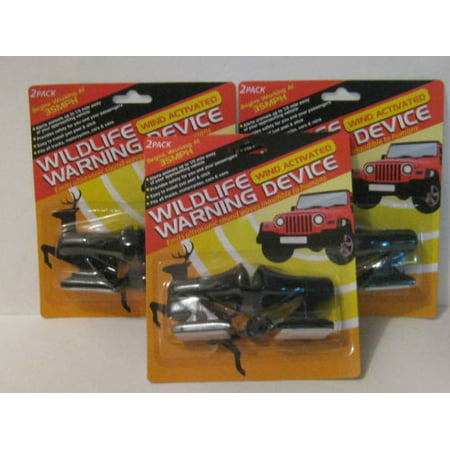 3 PACKS OF 2 DEER WHISTLES / WILDLIFE WARNING DEVICES (Deer Antlers For Cars)