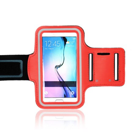 Tech Express Sport Gym Armband for Samsung Galaxy S6 (with Key Pocket) - Red