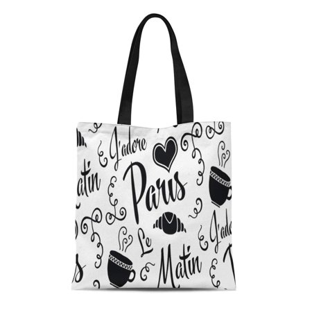 KDAGR Canvas Tote Bag France I Love Paris in Morning French Croissant Breakfast Reusable Handbag Shoulder Grocery Shopping