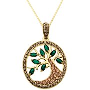 """Luminesse 18kt Gold over Sterling Silver Family Tree Pendant made with Swarovski Elements, 18"""" Necklace"""