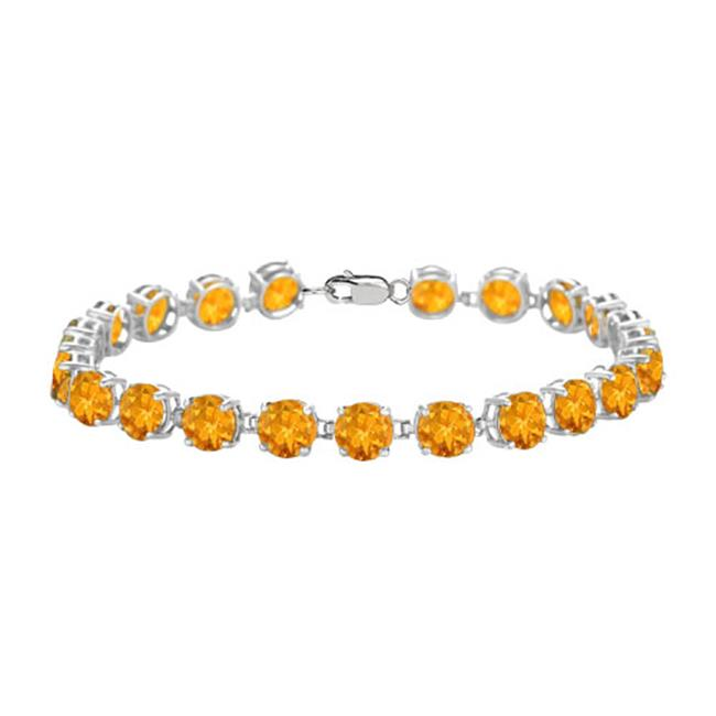 Fine Jewelry Vault UBBR55AGCT Sterling Silver Prong Set Round Citrine Bracelet with 12 CT TGW by Fine Jewelry Vault
