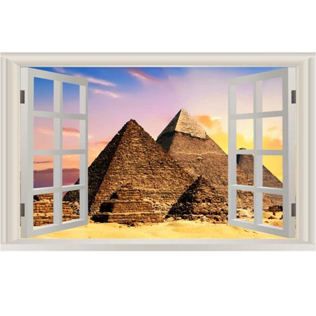 Egyptian Pyramids 3d - VWAQ Peel And Stick Egyptian Pyramids Wall Mural - 3D Window View Wall Decal Sticker NWT2 (16