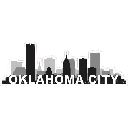 - 10inx3.5in Oklahoma City Skyline Sticker Vinyl Car Window Bumper Stickers