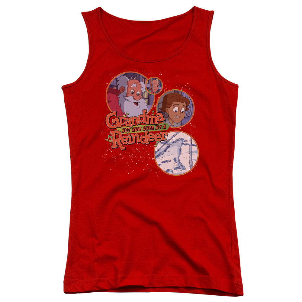 Grandma Got Run Over By A Reindeer Santa And Family Juniors Tank Top Shirt