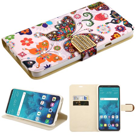 Luxury Bling Portfolio Leather Wallet Case for LG Stylo 4 / Stylo 4 Plus - Butterfly