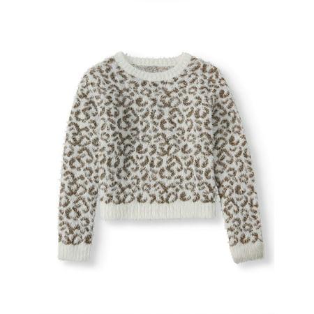 Wonder Nation Animal Print Pullover Eyelash Sweater (Little Girls, Big Girls & Plus) ()
