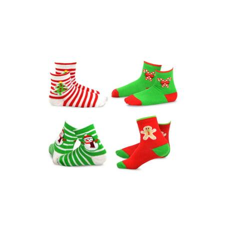 TeeHee Christmas Kids Cotton Fun Crew Socks 4-Pair Pack